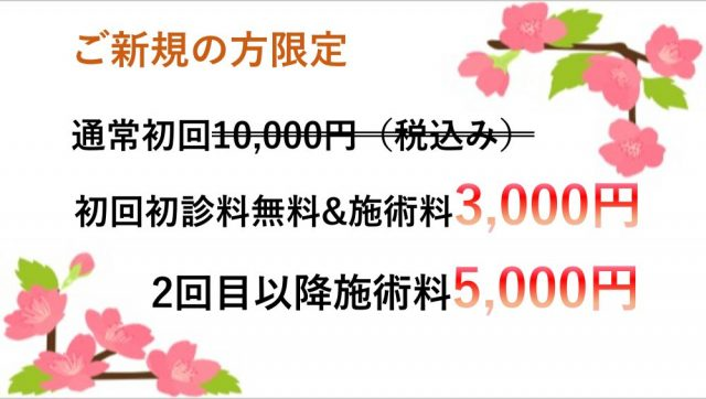 ご新規の方限定、通常初回10,000円が、初回初診料無料&施術料3,000円、2回目以降施術料5,000円
