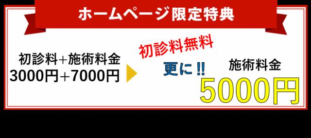 初診料無料更に施術料5000円