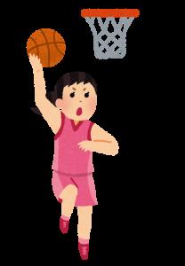 バスケ 女性 レイアップ イラスト